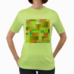 Background Abstract Grid Women s Green T Shirt