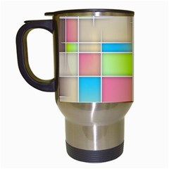 Background Abstract Grid Travel Mugs (white)