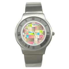 Background Abstract Grid Stainless Steel Watch