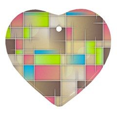 Background Abstract Grid Heart Ornament (two Sides)