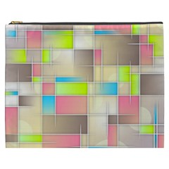Background Abstract Grid Cosmetic Bag (xxxl)