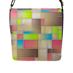 Background Abstract Grid Flap Messenger Bag (l)
