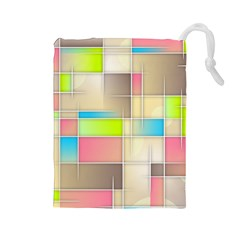 Background Abstract Grid Drawstring Pouches (large)