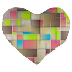 Background Abstract Grid Large 19  Premium Flano Heart Shape Cushions