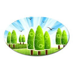 Landscape Nature Background Oval Magnet
