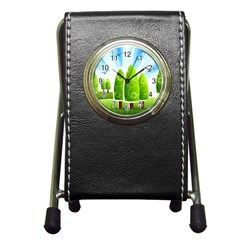 Landscape Nature Background Pen Holder Desk Clocks