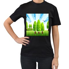 Landscape Nature Background Women s T Shirt (black) (two Sided)