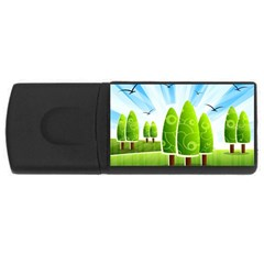 Landscape Nature Background Rectangular Usb Flash Drive