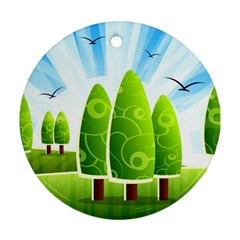 Landscape Nature Background Round Ornament (two Sides)