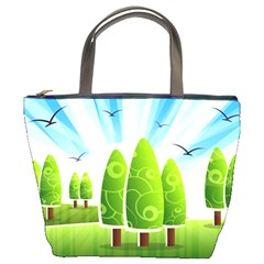 Landscape Nature Background Bucket Bags