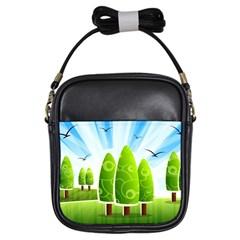 Landscape Nature Background Girls Sling Bags