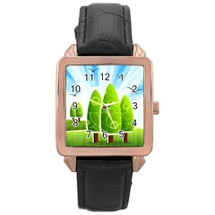 Landscape Nature Background Rose Gold Leather Watch
