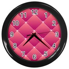 Pink Background Geometric Design Wall Clocks (black)