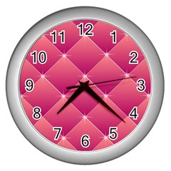 Pink Background Geometric Design Wall Clocks (silver)
