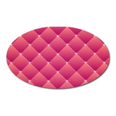 Pink Background Geometric Design Oval Magnet