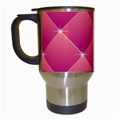 Pink Background Geometric Design Travel Mugs (white)
