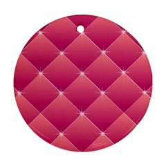 Pink Background Geometric Design Round Ornament (two Sides)