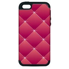 Pink Background Geometric Design Apple Iphone 5 Hardshell Case (pc+silicone)