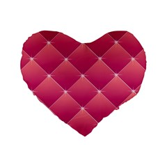 Pink Background Geometric Design Standard 16  Premium Heart Shape Cushions