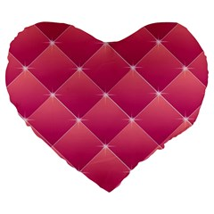 Pink Background Geometric Design Large 19  Premium Heart Shape Cushions