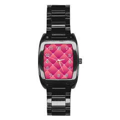 Pink Background Geometric Design Stainless Steel Barrel Watch