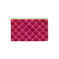 Pink Background Geometric Design Cosmetic Bag (xs)