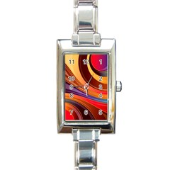 Abstract Colorful Background Wavy Rectangle Italian Charm Watch