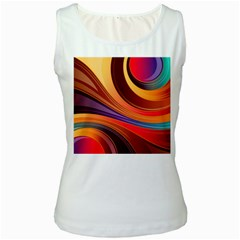 Abstract Colorful Background Wavy Women s White Tank Top