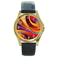 Abstract Colorful Background Wavy Round Gold Metal Watch