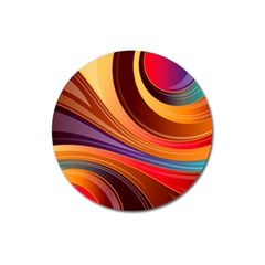 Abstract Colorful Background Wavy Magnet 3  (round)