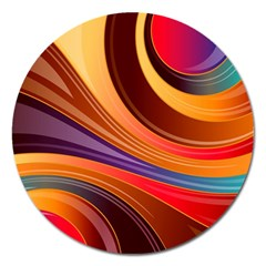 Abstract Colorful Background Wavy Magnet 5  (round)