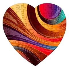Abstract Colorful Background Wavy Jigsaw Puzzle (heart)