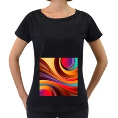 Abstract Colorful Background Wavy Women s Loose Fit T Shirt (black)