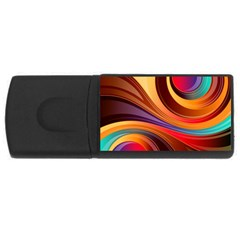 Abstract Colorful Background Wavy Rectangular Usb Flash Drive