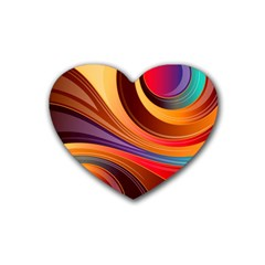 Abstract Colorful Background Wavy Rubber Coaster (heart)