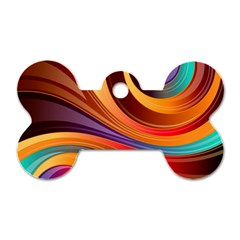 Abstract Colorful Background Wavy Dog Tag Bone (one Side)