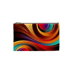 Abstract Colorful Background Wavy Cosmetic Bag (small)