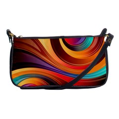 Abstract Colorful Background Wavy Shoulder Clutch Bags