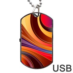 Abstract Colorful Background Wavy Dog Tag Usb Flash (one Side)