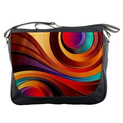 Abstract Colorful Background Wavy Messenger Bags