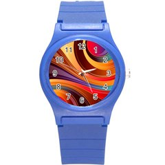 Abstract Colorful Background Wavy Round Plastic Sport Watch (s)