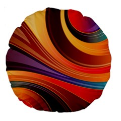 Abstract Colorful Background Wavy Large 18  Premium Round Cushions