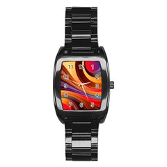 Abstract Colorful Background Wavy Stainless Steel Barrel Watch