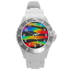 Colorful Background Round Plastic Sport Watch (l)