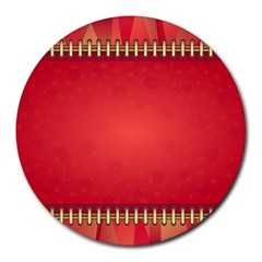 Background Red Abstract Round Mousepads