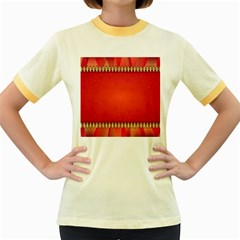 Background Red Abstract Women s Fitted Ringer T Shirts