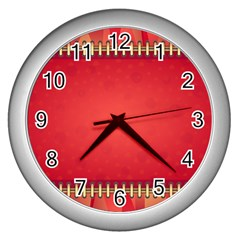 Background Red Abstract Wall Clocks (silver)