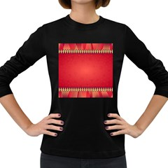 Background Red Abstract Women s Long Sleeve Dark T Shirts