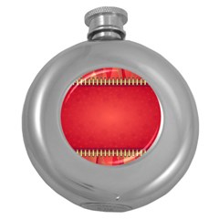Background Red Abstract Round Hip Flask (5 Oz)