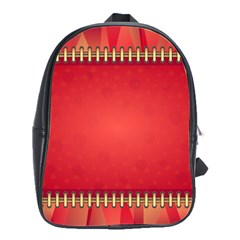 Background Red Abstract School Bag (large)